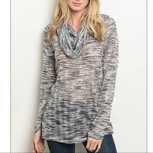 Black & white cowl neck slub ribbed knit top